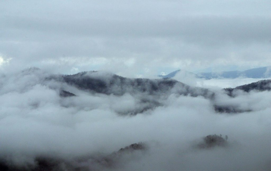 Mountain vista with cloud coverage